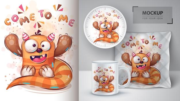 Teddy monster poster en merchandising.