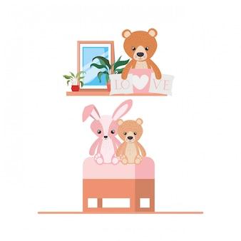 Teddybeer en konijn