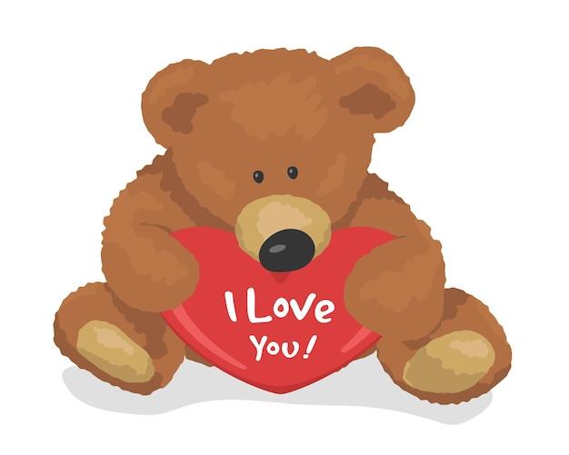 Teddybeer houdt hart bovenaanzicht. ik houd van je. vector illustratie plat ontwerp.
