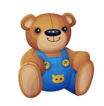 Teddybeer in geïsoleerde overall. cartoon illustratie