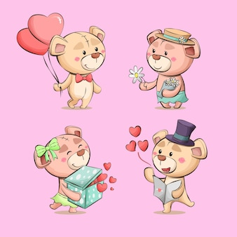 Teddybeer liefde cartoon schattig paar tekens hand getekende illustratie collectie