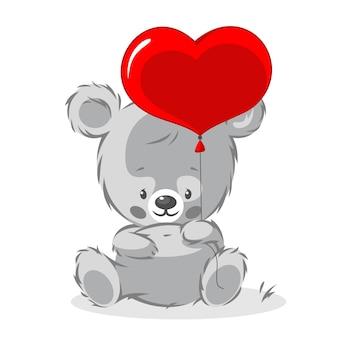 Teddybeer met een bal in de vorm van een hart op een witte achtergrond in vectoreps 8