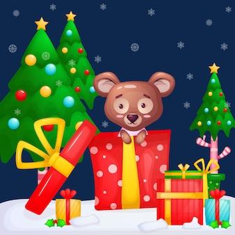 Teddybeer met kerstcadeaus. vrolijk kerstfeest.