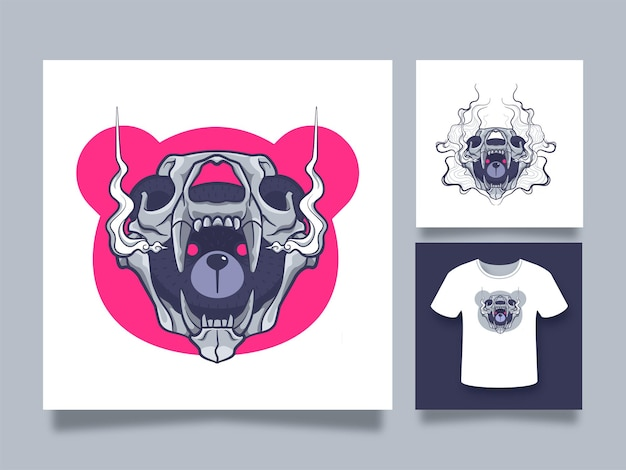 Teddybeer met schedelmasker kunstwerkillustratie voor sticker en kledingontwerp