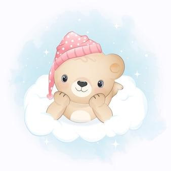 Teddybeer op de wolk blauwe aquarel achtergrond