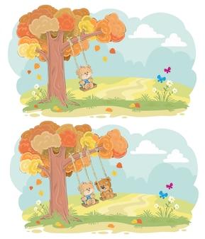 Teddybeer op swing herfst vector concept