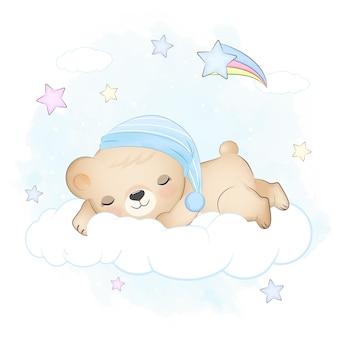 Teddybeer slapen op de wolk