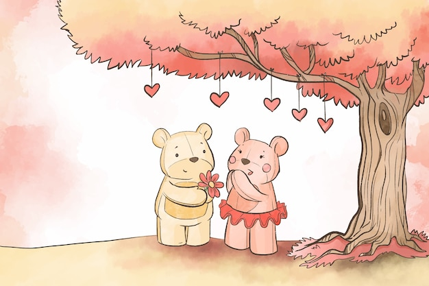 Teddyberen onder de achtergrond van de boomvalentijnskaart