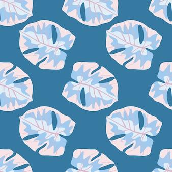Teder botanisch naadloos patroon met blauw gekleurde monsterabladeren.