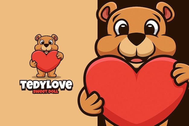 Tedy bear doll knuffel groot liefdeslogo