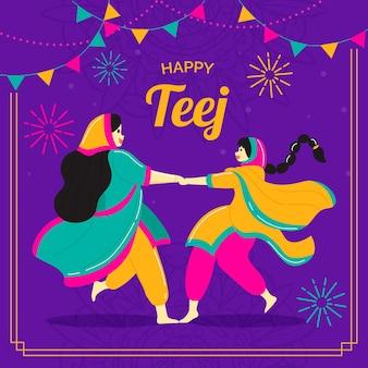 Teej festival viering illustratie