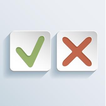Teek en kruis tekenen pictogrammen illustratie