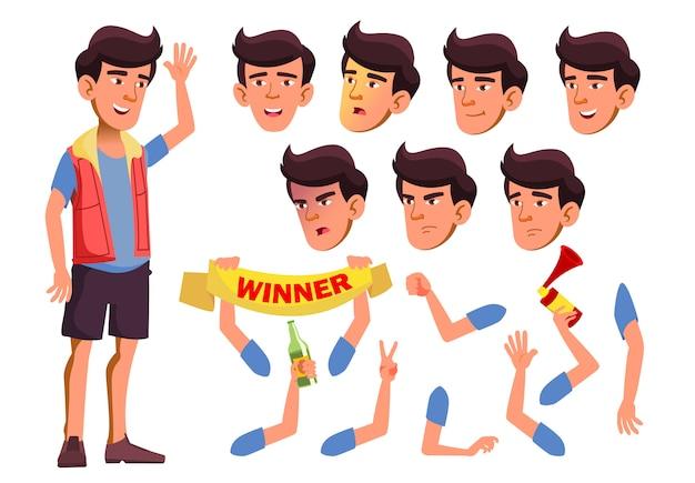 Teen boy karakter. aziatische. creatie constructor voor animatie. gezichtsemoties, handen.