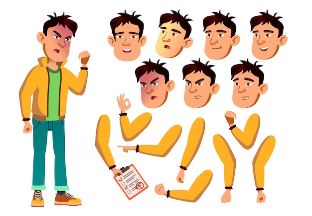 Teen boy karakter. europese. creatie constructor voor animatie. gezichtsemoties, handen.