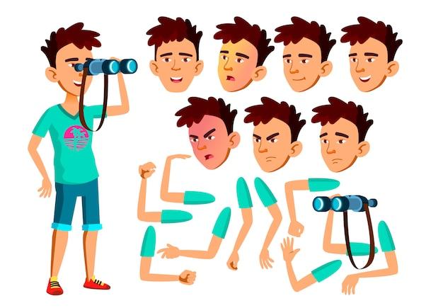 Teen boy karakter. indian. creatie constructor voor animatie. gezichtsemoties, handen.