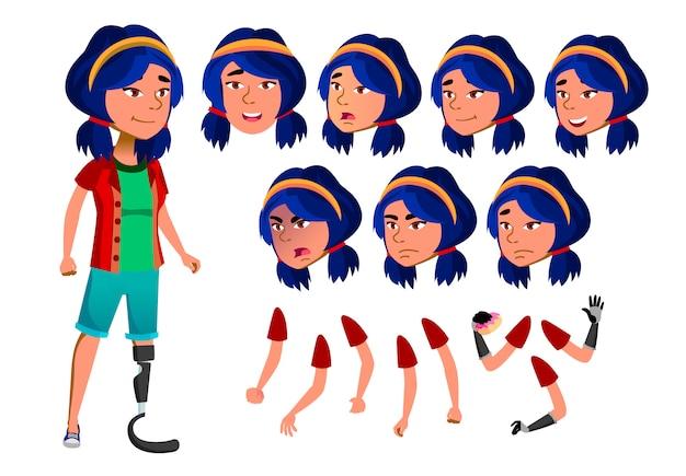Teen girl karakter. aziatische. creatie constructor voor animatie. gezichtsemoties, handen.