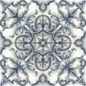 Tegel of mozaïek ornament aquarel