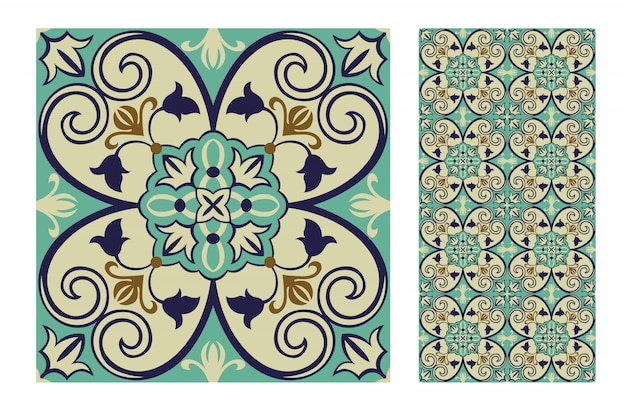 Tegelt portugees patronen antiek naadloos ontwerp
