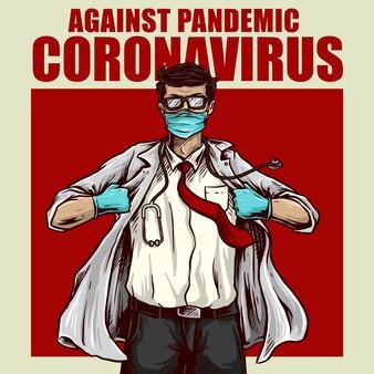 Tegen corona virus poster ontwerp illustratie