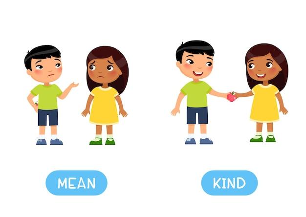 Tegengestelden concept mean and kind word-kaart voor het leren van de engelse taal flashcard met antoniemen