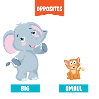 Tegenover adjectieven met cartoon tekeningen