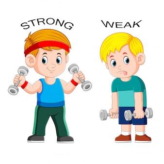 Tegenover bijvoeglijk naamwoord met sterk en zwak