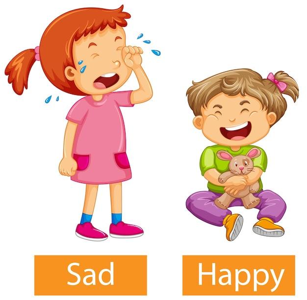 Tegenover bijvoeglijke naamwoorden woorden met blij en verdrietig