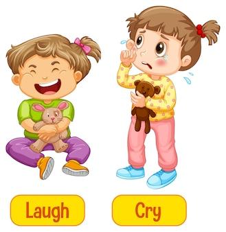 Tegenover bijvoeglijke naamwoorden woorden met lachen en huilen