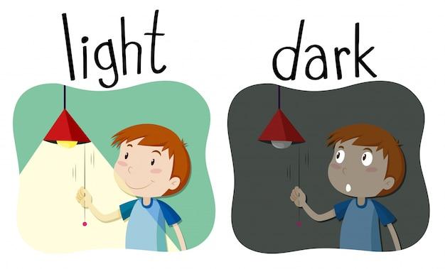 Tegenover elkaar adjectieven licht en donker