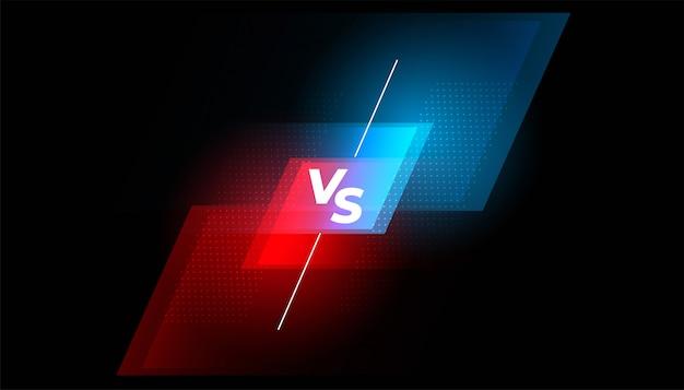 Tegenover het gevechtsscherm rode en blauwe achtergrond