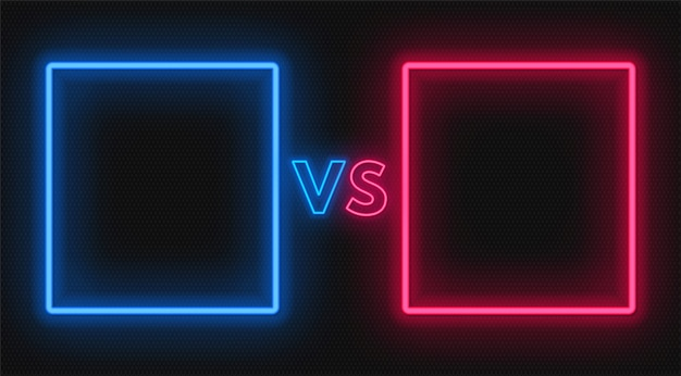 Tegenover het scherm met neonframes en vs-bord. confrontatie ontwerp.