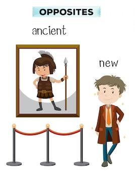 Tegenover het woord van het oude nieuw