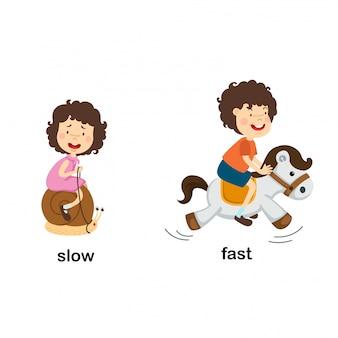 Tegenover langzame en snelle vectorillustratie
