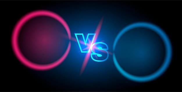 Tegenover scherm. banner voor competitie, strijd, teamconcept. abstracte achtergrond met gloeiende letters. vector illustratie.