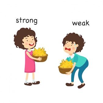 Tegenover sterke en zwakke en slimme vectorillustratie