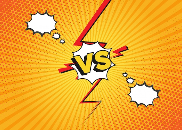 Tegenover vecht achtergronden in platte stripstijl. vs battle challenge of duel. cartoon gele strips achtergrond.