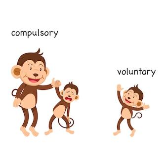 Tegenover verplichte en vrijwillige vectorillustratie