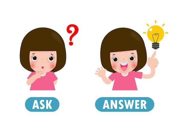 Tegenover vraag en antwoord, woorden antoniem voor kinderen met stripfiguren gelukkig schattige kinderen flat illustratie geïsoleerd op witte achtergrond