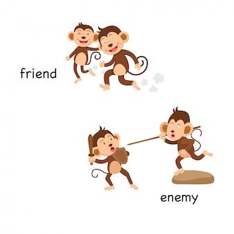 Tegenover vriend en vijandelijke vectorillustratie