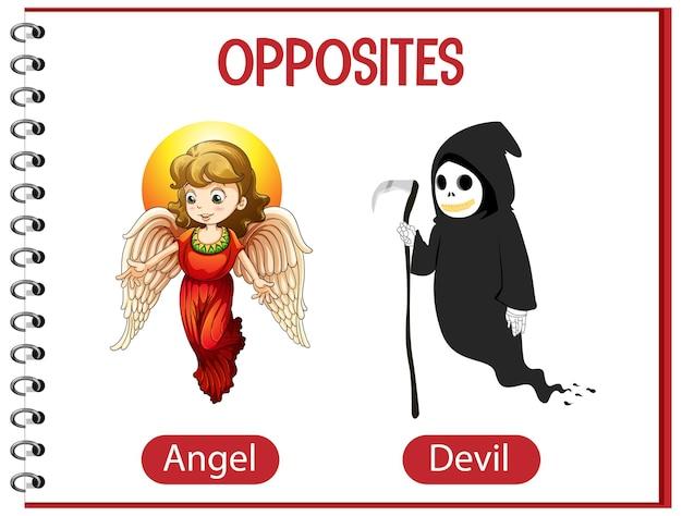 Tegenover woorden met engel en duivel