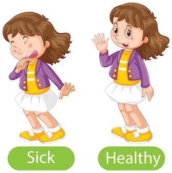 Tegenover woorden met ziek en gezond