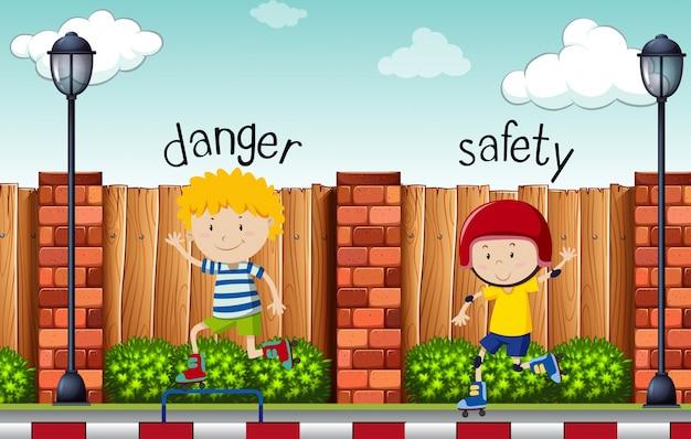 Tegenover woorden voor gevaar en veiligheid