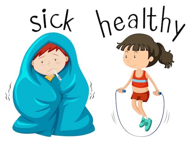 Tegenover wordcard voor ziek en gezond woord