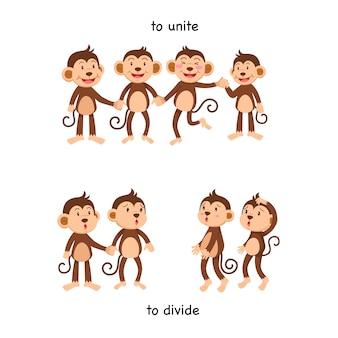 Tegenovergesteld om vector illustratie te verenigen en te verdelen