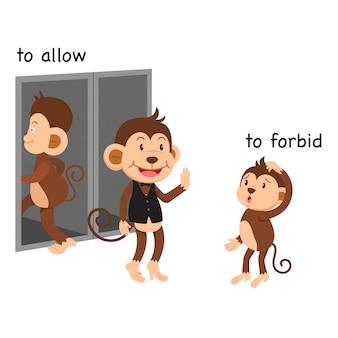Tegenovergesteld om vector illustratie toe te staan en te verbieden