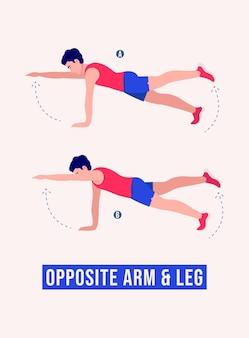 Tegenovergestelde arm- en beenoefening mannen workout fitness aerobics en oefeningen