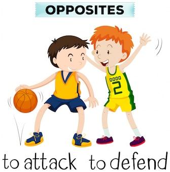 Tegenovergestelde woorden voor attck en verdedigen