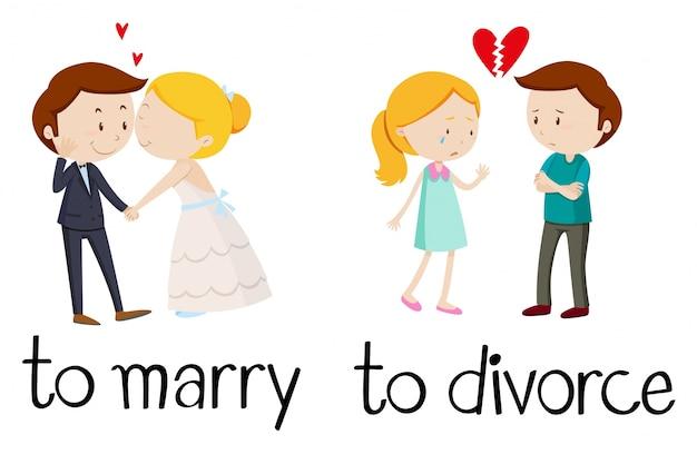 Tegenovergestelde woorden voor trouwen en echtscheiding