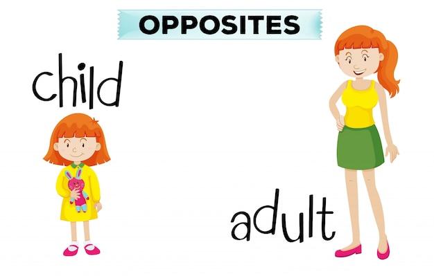 Tegenovergestelde woordkaart met kind en volwassene