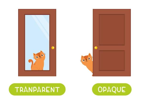 Tegenstellingen concept, opaque en transparant. woordkaart voor het leren van talen. leuke kat zit achter een glazen deur en achter een houten deur. flashcard-sjabloon met antoniemen voor kinderen.